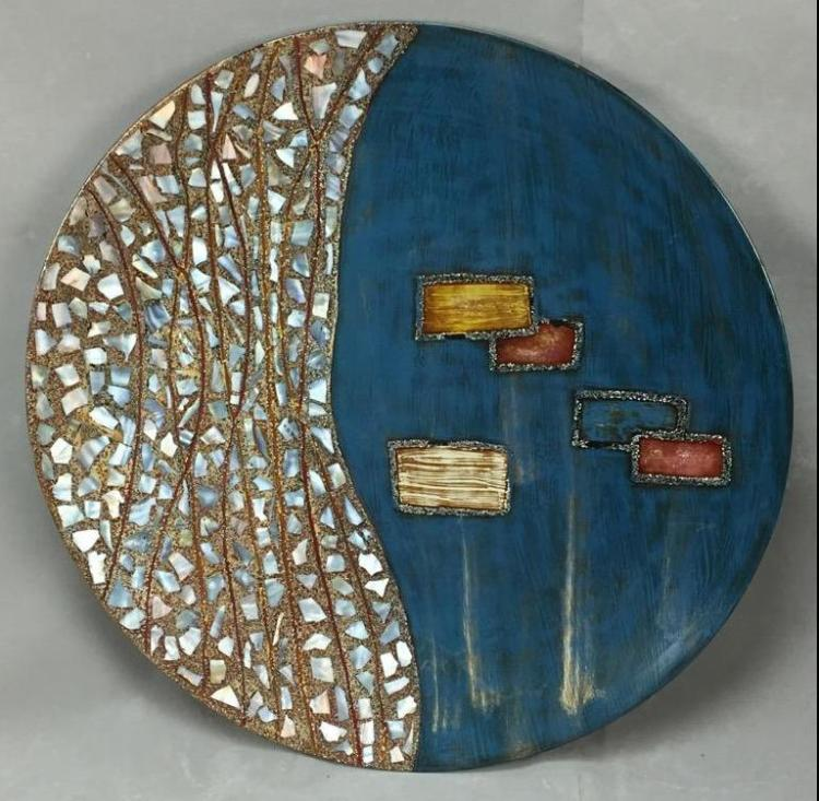 Large modern Lacquerware art platter with mother of pearl inlay