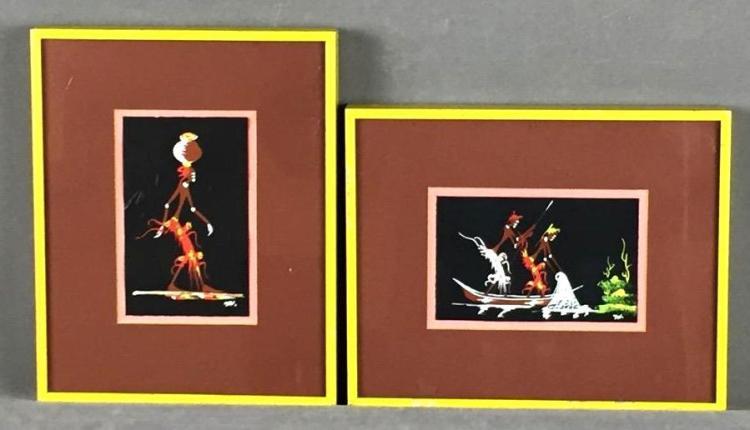 (2) Miniature gouache paintings of aboriginals, initialed