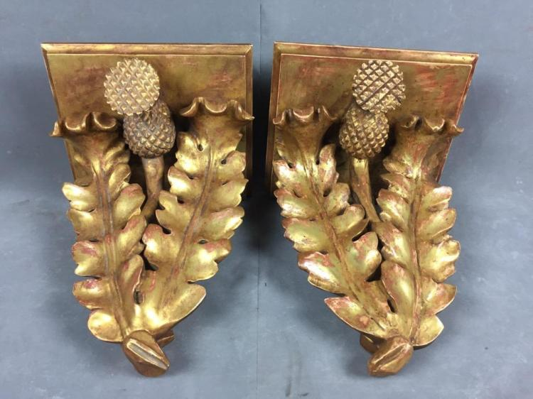 Pair of wooden hand carved gilt shelve sconces