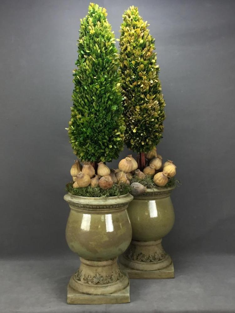Pair of topiary and flowers in ceramic classical design pots