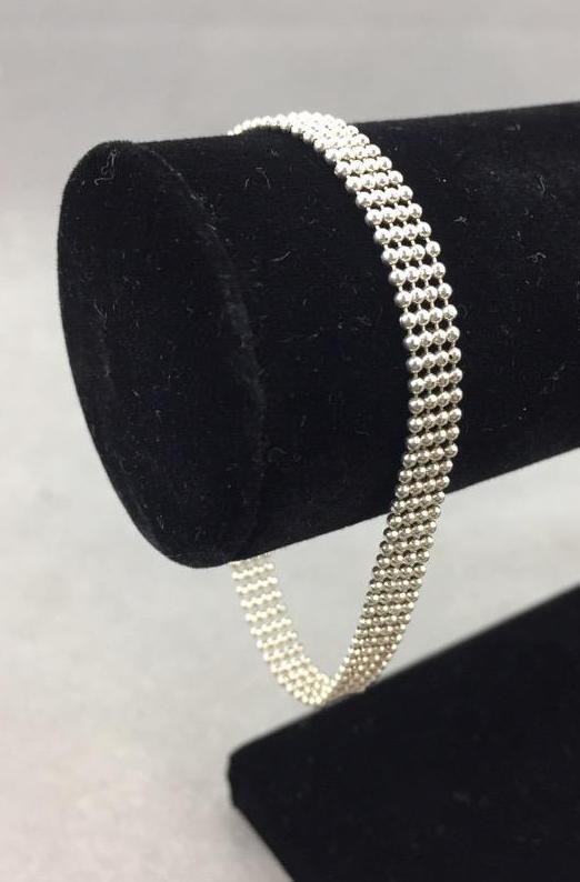 Italian Sterling Silver beaded bracelet (5.2g .925)