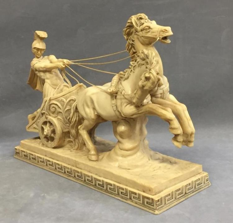 Signed Roman chariot rider & horse sculpture