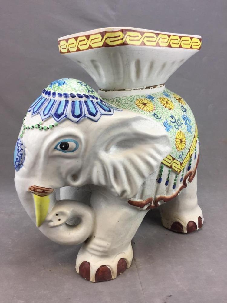 Chinese floral adorned ceramic elephant garden plant stand