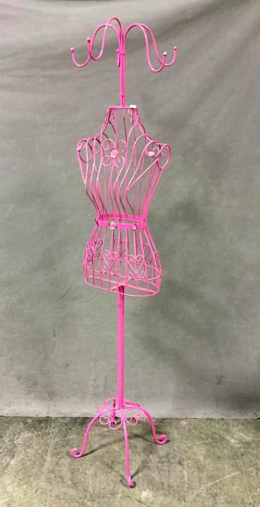 Bright pink wire mannequin & hat rack