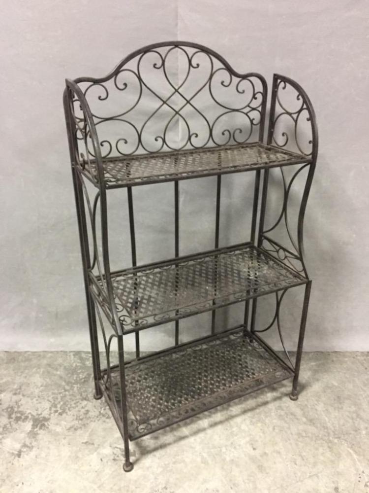 Ornate folding metal garden shelf