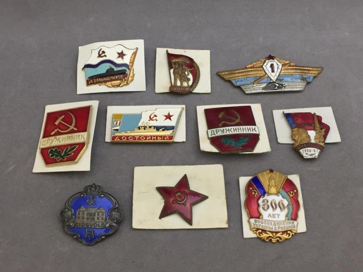 (10) Soviet Russian military pins/medals, U.S.S.R.