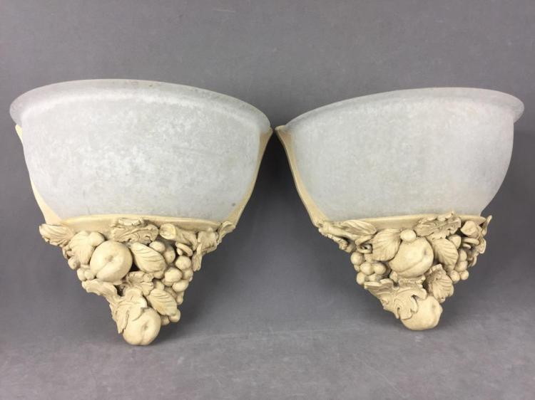Pair of resin sculpted classic style candle wall sconces with frosted glass covers