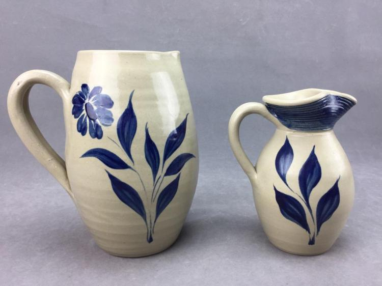 (2) Williamsburg Salt Glazeware pottery pitchers