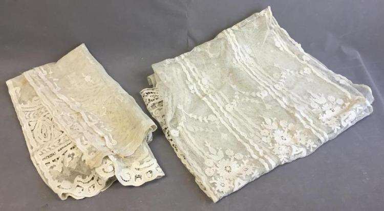 Intricate Hand-made Edwardian - Victorian sheer lace curtains