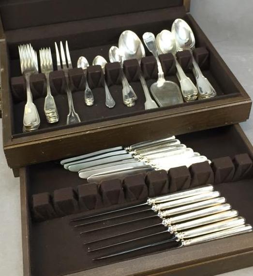 Set of Swiss Sterling Silver flatware by Jezler Inox, marked