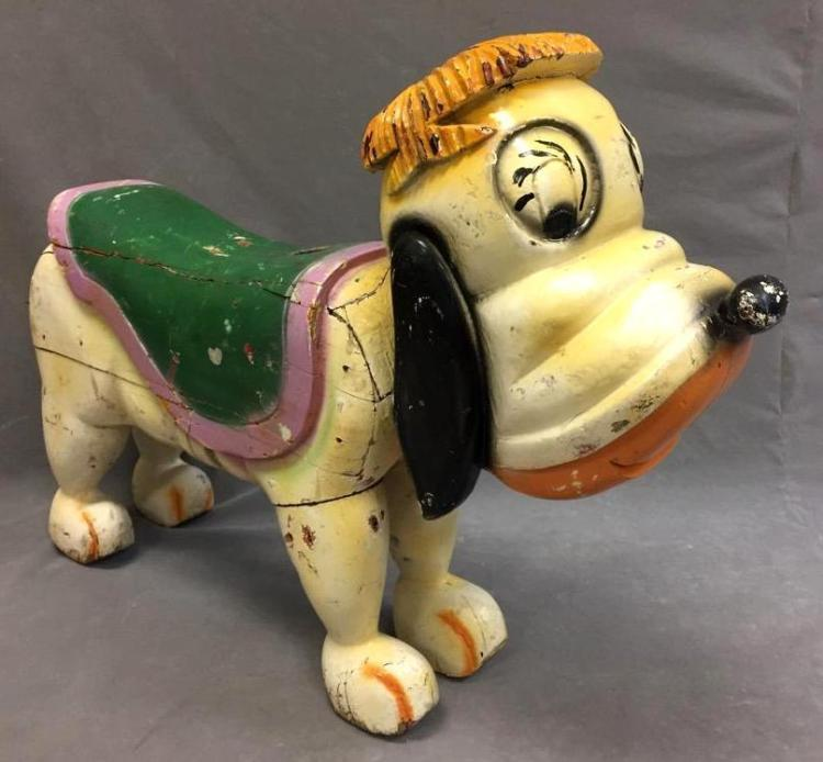 Whimsical Hand-carved Carousel dog featuring original paint