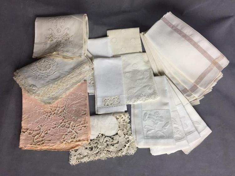 Selection of fine hand-stitched handkerchiefs and dinner napkins