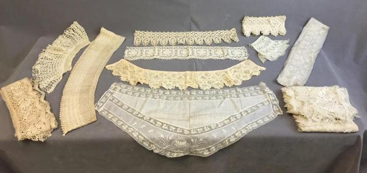Assorted lot of embroidered curved and straight lace trim pieces