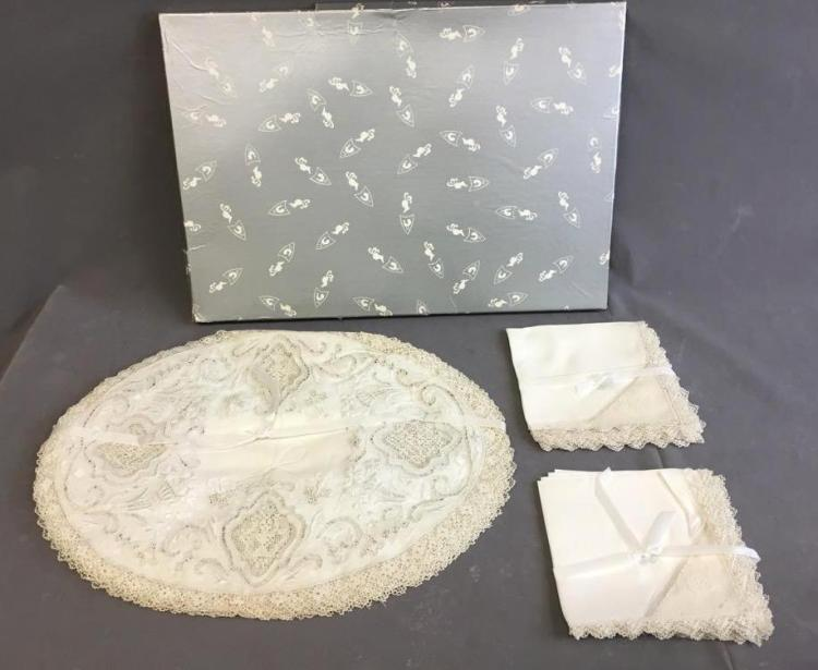 Leacock embroidered lace dinner linens - set of (12) napkins and mats