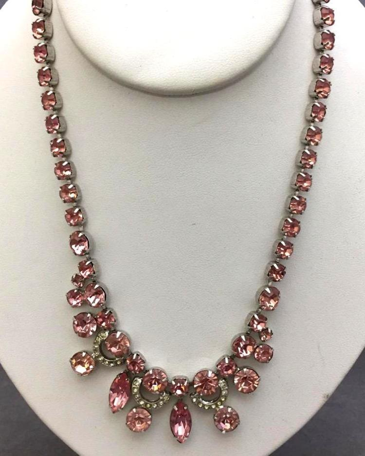Vintage Eisenburg Ice pink rhinestone necklace