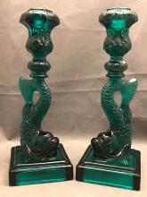 Pair of MMA Imperial glass, sea green, Koi fish candlesticks.