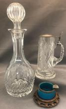 3 Piecesincluding Imperial Russian crystal beer stein with 875 silver lid