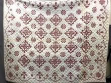 Red and white star hand cross stitched cotton quilt