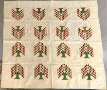 Early 1900's hand stitched Red and green tree of life quilt