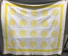 Older Hand stitched CarpentersWheel Yellow and white quilt