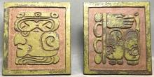Mid century Mayan god clay tiles