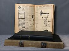 Three antique and vintage bound newspapers