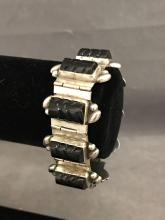 Early sterling silver Mexican and onyx bracelet