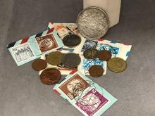 Foreign coins and stamps to include Latvian 5 Pieci 25 g and mercury had dime.