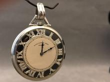 Art Deco platinum Black Star and Frost Gorham pocket watch with inset diamonds