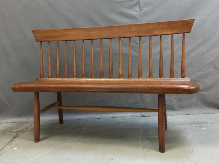 Antique Primitive Shaker Style Spindle Back Bench