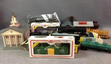 Lot of HO scale AHM train, caboose, model power freight cars with 2 buildings and tyco train track