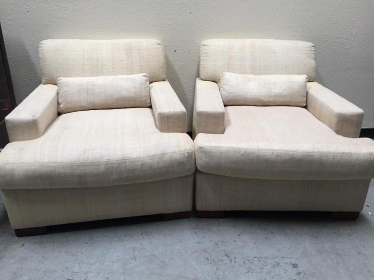 Pair Of Matching Ralph Lauren Ivory Fabric Chairs