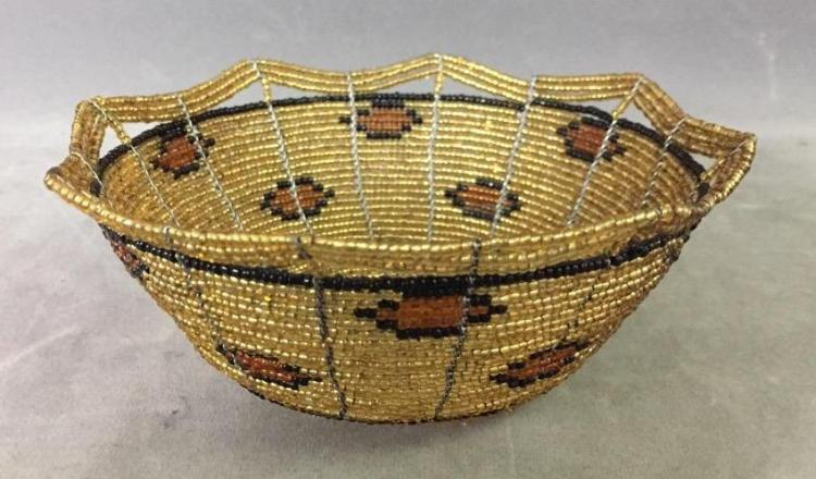 Glass beaded basket with native american design for Native american furniture designs