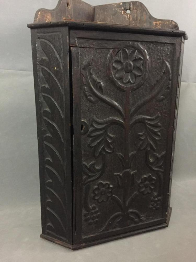 Antique hand carved mexican corner cabinet for Carved kitchen cabinets