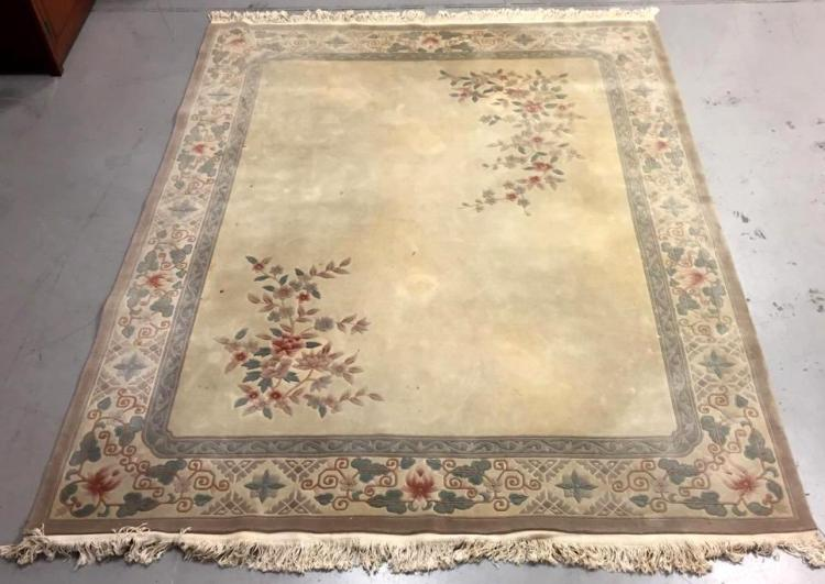 Very Large Asian Style Sculpted Wool Area Rug