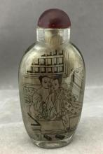 Older Chinese Reverse-Painted glass snuff bottle w/ erotic imagery