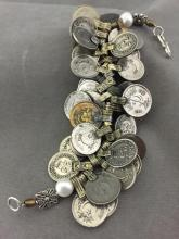 Older Collectible Afghan Coin bracelet w/ faux pearls