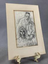 Original Abstract Pencil drawing of old man w/ young woman by listed Israeli artist