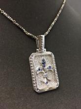 Designer Sterling Silver, Fluer de Lis pendant w/chain chain, 46.6g