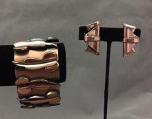 Vintage Renoir copper bracelet & earrings, signed