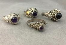 (4) Ornate Sterling Silver poison rings w/ black stones, 12.7 g