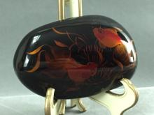Hand-painted Asian stone w/ intricate Coi Fish design
