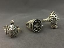 (3) Sterling Silver poison rings w/ animal designs, 19 g