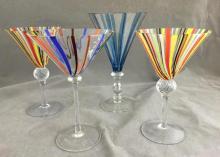(4) Art Glass Martini Glasses, hand-blown stemware, (2) marked