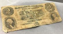 $2.00 Merchant & Planters bank, state of Georgia currency bill
