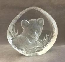 Swedish Mats Jonasson Etched Art Glass depicting young lion cub, signed