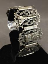 Vintage Silver Art Deco Parisian themed bracelet, 25.8 g