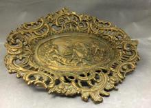 Antique American Iron Art platter w/ Neoclassical relief design, marked