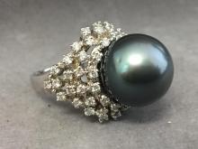 Tahitian pearl & diamond set in 14k white gold ring, 14 g, (pearl 14mm, diamonds 1.09ctw)