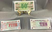 (3) 6th series British Armed Forces new pence notes, marked